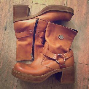 Harley Davidson Womens Brown Tan Heel Boots 8 1/2